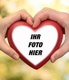 Fotoeffekt von zwei Händen mit einem Herzen für Ihr Foto