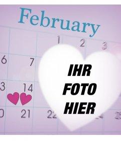 Feiern Sie Valentinstag mit diesem Fotomontage eines Kalender Februar