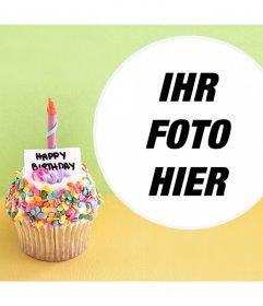 Photo-Effekt mit einem Geburtstag Cupcake für Ihr Foto