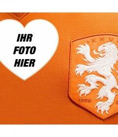 Hemd und Logo des Fußball-Team aus Holland mit mit Ihrem Foto