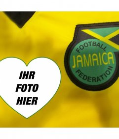 Foto-Effekt mit dem Fußballhemd und Schild von Jamaika zu bearbeiten