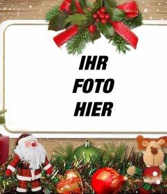 Fotoeffekt mit Weihnachtsschmuck für Ihr Foto hochladen