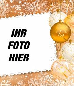 Setzen Sie Ihr Bild in einem Rahmen mit Weihnachtsschmuck dekoriert