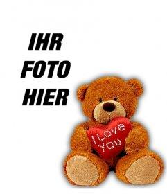 Profil-Foto mit einem Teddybär mit einem Herzen, um Ihr Facebook-oder Twitter-Profil Ihre anmelden