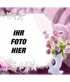 Schöner Rahmen mit Rosen mit Ihrem Foto und kostenlos