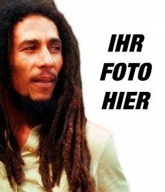 Erstellen Sie eine Fotomontage mit Bob Marley von Ihrer Seite Laden eines Bildes Online Zugabe ein Satz frei