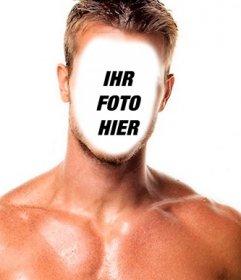 Fotomontage eines muskulösen und starken Mann, der ein Gesicht zu setzen