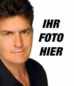 Erstellen Sie eine Montage von Charlie Sheen in einem Foto mit dem Schauspieler darauf erscheinen