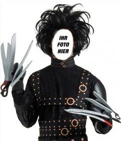 Fotomontage von Edward mit den Scheren Ihr Gesicht in diesem Zeichen zu setzen, um die berühmte Figur aus den 90er Jahren Film, Edward mit den Scheren von Tim Burton