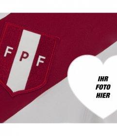 Online Montage Schild und Fußballhemd Peru für Ihr Foto