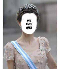 Fotomontage der Prinzessin Letizia mit einer großen Krone Ihr Foto einfügen