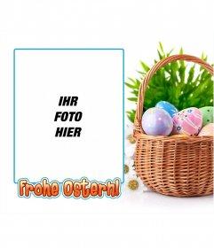 Fotorahmen mit einem Bild von Ostereiern mit Text
