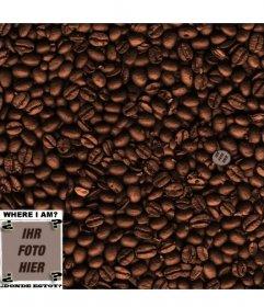 Spiel: Finden Sie das Gesicht in den Kaffeebohnen. Fügen Sie ein Foto, um es zu verstecken