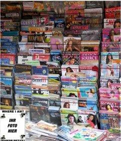 Spiel mit einem Foto zu machen, finden das Gesicht in allen Zeitschriften