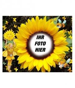 Bilderrahmen in Form von Sonnenblumen. Ihr Lieblingsbild anpassen