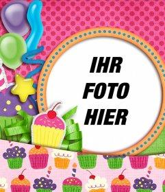 Geburtstagskarte mit rosa Kuchen-Zeichnungen