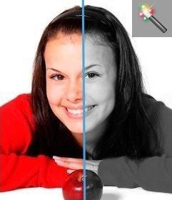 Online-Programm übergeben Farbfotos in Schwarz-Weiß