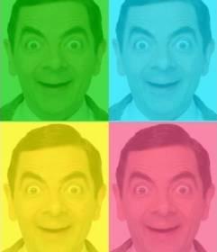 Pop-Art-Box mit Ihrem Foto personalisiert, grün, blau, gelb und pink. Foto hochladen, schneiden Sie es aus und wenden Sie dann dieses Filters mit Hilfe dieser Seite als ein Foto-Editor kostenlos