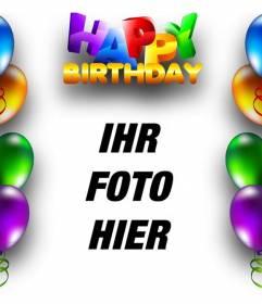 Geburtstagskarte mit Luftballons Rahmen und Text Happy Birthday in farbigen Buchstaben