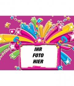 Rose Rahmen für ein Bild von Sternen und Herzen voller Farben, von rosa und lila Hintergrund