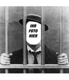 Foto montage mit deinem Foto des Mannes im Gefängnis oder Gefängnis