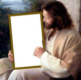Setzen Sie Ihr Bild in ein Bild, das Jesus Christus hält