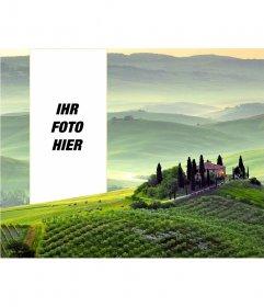 Postkarte eines toskanische Landschaft zu setzen Sie Ihr Foto