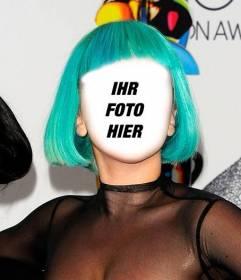 Fotomontage von Lady Gaga mit einem grünen Frisur, wo Sie Ihr Gesicht kann sich