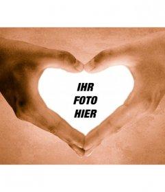 Fotorahmen Hände, welche die Form eines Herzens.
