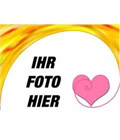 Fotorahmen mit Herz. Beglückwünscht dieser Valentine mit einem kostenlosen Online-Foto-Montage, können Sie speichern oder E-Mail