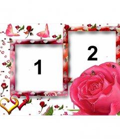 Rahmen für zwei Bilder, liebevolle Motive wie Schmetterlinge, Rosen und Herzen. Weißer Hintergrund, vorherrschende Farbe rosa. Als Detail zu erinnern, Termine wie Jubiläen oder Valentinstag, Valentinstag