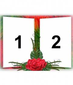 Elegante Montage von zwei Fotografien in einem Rahmen von Grün und Rot Blumenmotiven. Mit Rosen dazwischen. Ideal für ein Paar in der Liebe. Als Erinnerung an wichtige Termine und Valentinstag