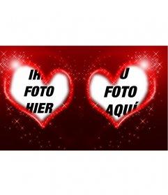 Rahmen der zwei Herzen, roter Hintergrund und Sterne für Ihre Fotos