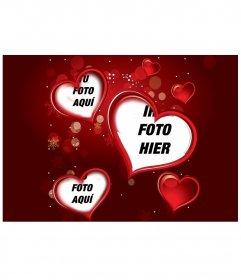 Einstellen rot mit einem digitalen Foto, das in drei Herzen erscheint. Ergänzen Sie Ihr Geschenk dieser Valentinstag Liebe zum Detail.