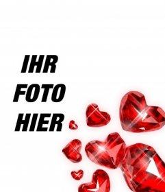 Red herzförmige Diamanten mit Lichtblitzen zu dekorieren Ihre romantische Fotografien