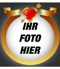 Goldener Rahmen mit Herz und Pfeil Ihr Foto zu addieren innen