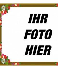 Border für Fotos mit dekorativen Blumen, die Sie online bearbeiten können