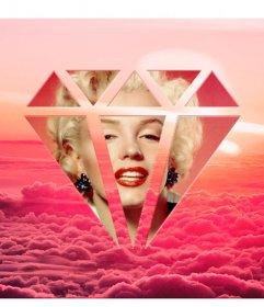 Fotomontage zwischen rosa Wolken, um das Foto in einer Diamantform legen