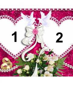 Fotorahmen mit zwei Herzen zum Valentinstag