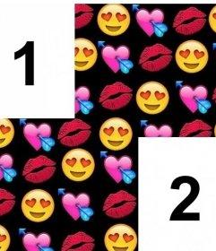 Rahmen mit Liebe Emojis Collage für zwei Fotos