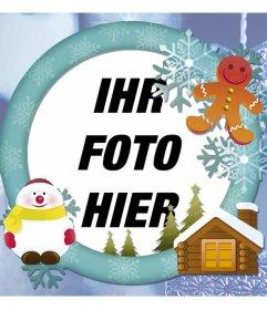 Online-Foto-Rahmen mit Schnee für Ihre Weihnachtskarte