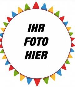 Freie bunte Fotorahmen für Ihr Foto mit Party Wimpel