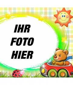 Zierrahmen für Kinder mit einem zarten Teddybären und einer Sonne