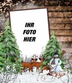 Fotorahmen mit einer verschneiten Winterlandschaft, ein Reh und ein Schneemann.