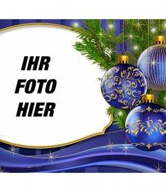 Setzen Sie Ihr Bild neben dieser Weihnachtskarte mit Ornamenten