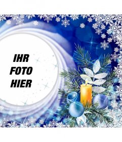 Weihnachtskarte mit Schneeflocken Ihr Foto in einem Kreis zu setzen