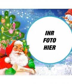 Foto-Rahmen mit Santa Claus beladen mit Geschenken in einem Sack
