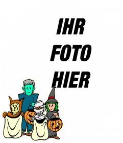 Rahmen für Kinder mit Zeichen mit Halloween-Kostüme
