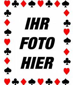 Fotorahmen mit Symbolen der Poker-Karten