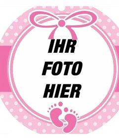 Rund rosa Rahmen ein Bild eines Babys